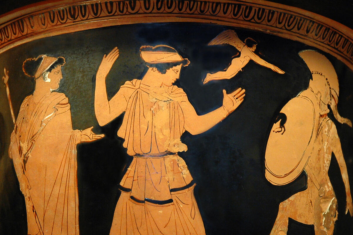 Helen and Menelaus on a vase in the Louvre
